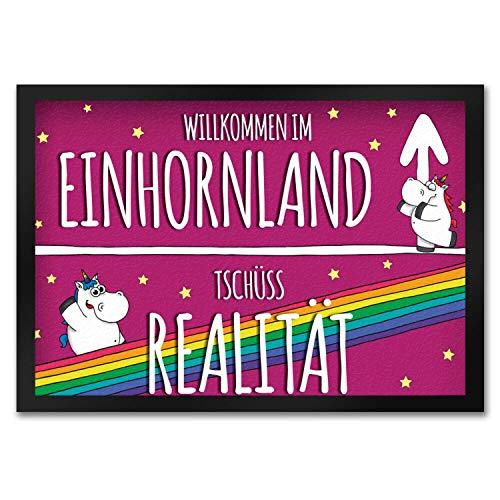 trendaffe - Willkommen im Einhornland Fußmatte mit niedliche Einhörner auf pinkem Hintergrund mit Regenbogen Motiv