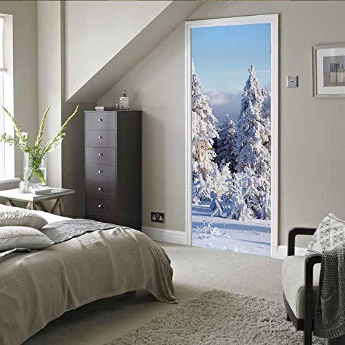 PEBROU 3D Etiquetas engomadas de la puerta, Cielo azul pino nevado Para Puertas Vinilo Desmontable Para Agua Pegatinas Para Puertas 95x215cm