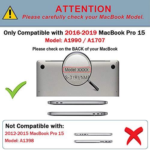 TECOOL Hülle für MacBook Pro 15 Zoll 2019/2018/ 2017/2016, Slim Plastik Hartschale Schutzhülle Snap Case für Apple MacBook Pro 15,4 Zoll mit Touch bar (Modell:A1707 A1990) - Schwarz