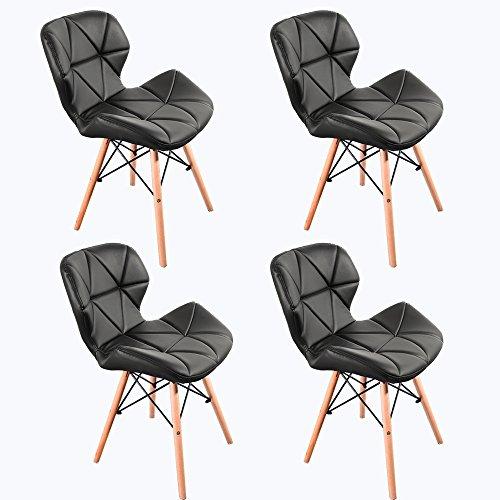 Panana, 4 sedie in legno stile Eiffel, gambe in legno e comoda seduta imbottita, per casa, ufficio, colore nero, 4 pezzi
