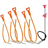 Drain Snake, 6 PCS Drain Clog Remover Excellent Length 60 inch Stainless Steel and 25 inch PlasticCleaning Tools for Sink Tube Drain Environmental