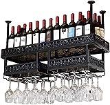 Bedspread Double Layer Wall Wine Racks Metal Iron Storage Shelf in Bar Household Loft Ceiling Wall Mounted Hanging Wine Champagne Glass Goblets Stemware Rack Wine Bottle Holder