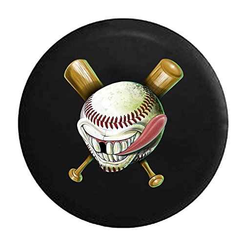American Unlimited Baseball Softball Ball Bat Funny Face Spare Tire Cover Black 35 in
