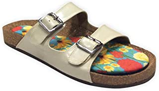 Colour Me Mad Cream Plain, Natural Cork, Washable, All Weather, Vegan, Made in India, PETA Certified, Women Sandals (Slider)