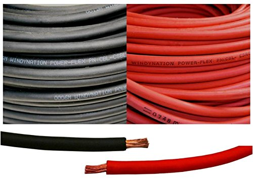 8 Gauge 8 AWG 10 Feet Black + 10 Feet Red Welding Battery Pure Copper Flexible Cable Wire - Car, Inverter, RV, Solar