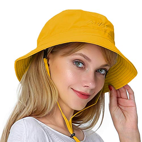 Womens Large Bucket Sun Hat Detachable Chin Strap Quick Dry Water Resistant Yw