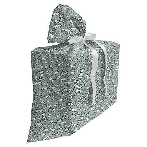 ABAKUHAUS Bordspel Cadeautas voor Baby Shower Feestje, Schaakstukken Koning Koningin, Herbruikbare Stoffen Tas met 3 Linten, 70 cm x 80 cm, Pale Sage Green White
