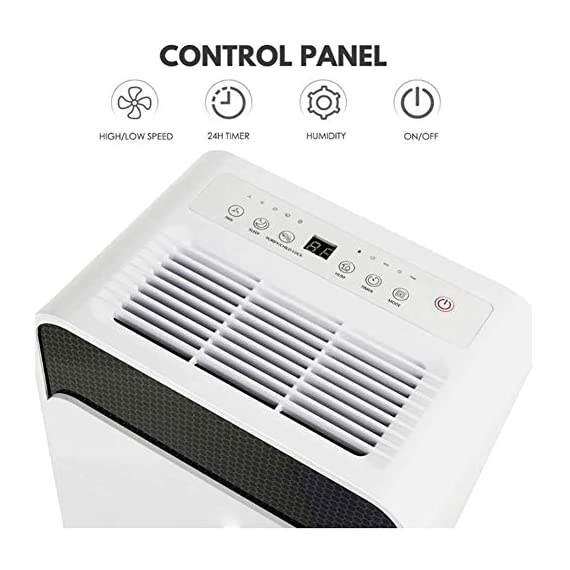 WQSFD 30Pint Dehumidifiers 4 Gallons/Day Intelligent Humidity Control for Space Up to 1000 Sq Ft for Home Basements… 2 30 Pints Dehumidifier: With removal capacity of up to 30 pints of water per day (under 90% RH @ 95°F condition), this energy-efficient dehumidifier is ideal to dehumidify damp rooms up to 1056 sq ft, like attics, basements, bathrooms, laundry room, garages, and even campers or RV. Easy-to-use Dehumidifier: With a built-in humidistat, this smart dehumidifier will AUTO-STOP when set humidity level has been met and AUTO-RESTART when room humidity goes up again. The switchable fan speed add flexibility and the programmable 24H ON/OFF improves energy savings. User-friendly Drainage Options: This small dehumidifier will auto shut off when the 4-Pint (0.5 Gal.) water reservoir is full and audibly alert you to empty it. Too busy to empty it manually? This dehumidifier with drain hose (6.56-ft) allows you to simply attach the hose to achieve self-draining by gravity.