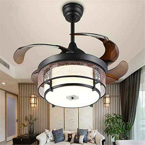 YING Araña del Abanico, posmoderno Hogar Simple Invisible Fan Light Fan A Chandelier Comedor Sala de Estar