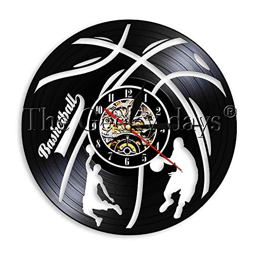 1 Stück Basketball Vinyl Rekord Wanduhr Outdoor Sport Moderne Wanduhr Home Decor Kunst für Spieler Basketball Hobby Geschenk-Keine