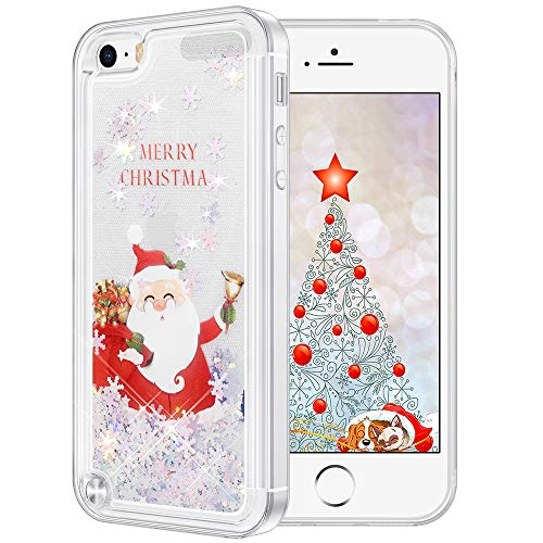 Maxdara Christmas Case for iPod Touch 5 6 7 Glitter Case Santa Claus Pattern Snowflake Glitter Liquid Bling Sparkle Pretty Case Girls Women Case for iPod Touch 5 6 7 Generation (Santa Claus)