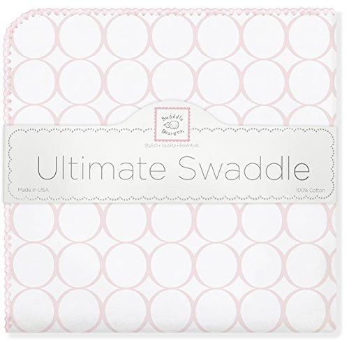 SwaddleDesigns Ultimatives Pucktuch, Premium Baumwollflannell, Poppige Kreise auf weißem Grund, Pastellrosa