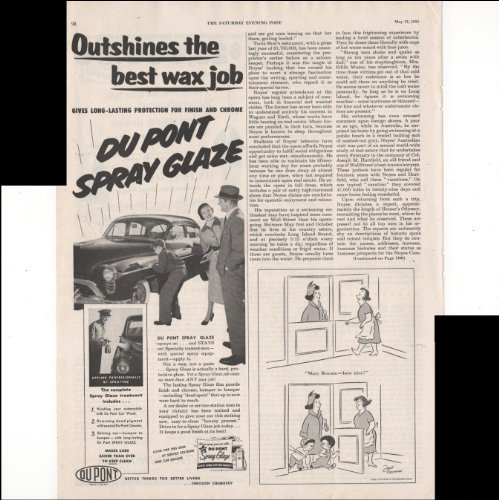 DuPont Spray Glaze Outshines The Best Wax Job Car 1952 Vintage Advertisement