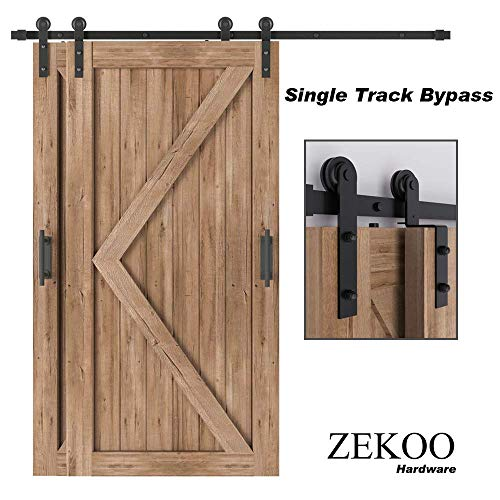 ZEKOO 4 FT- 12 FT Bypass Sliding Barn Door Hardware Kit, Single Track, Double Wooden Doors Use, Flat Track Roller, One-Piece Rail Low Ceiling (4FT Single Track Bypass)