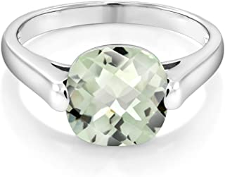 Gem Stone King 925 Sterling Silver Green Prasiolite Women's Ring (3.33 Cttw Cushion Checkerboard Available in size 5, 6, 7, 8, 9)