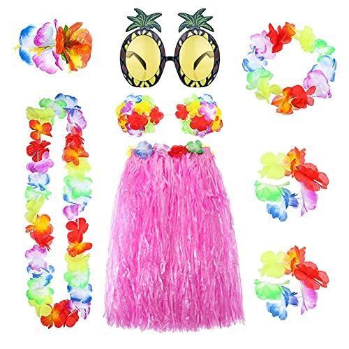 ConBeauty Juego de falda de hula de hierba hawaiana de 8 piezas, gafas de sol de Leis hawaianas, collar, pulseras, parte superior de bikini, faldas de hierba multicolor, decoraciones para fiestas