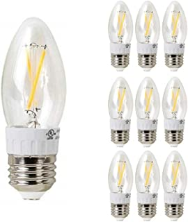 10 Pack Reo-Lite Dimmable LED Filament B10 Candelabra Light Bulb, Clear Glass,