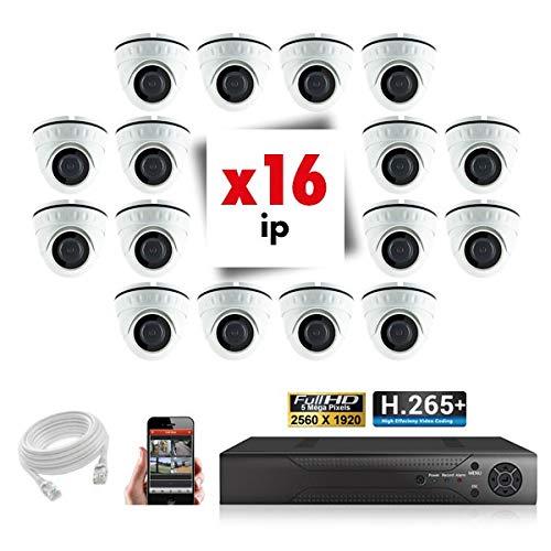 Kit Videosorveglianza 16 telecamere IP POE Pro Full HD H265 5MP - 6000 GB, 16 cavi da 20 m inclusi, schermo 22'