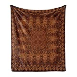 Ambesonne Antique Soft Flannel Fleece Throw Blanket, Vintage Lacy Persian Pattern from Ottoman Empire Palace Carpet Style Artwork, Cozy Plush for Indoor and Outdoor Use, 50' x 70', Orange Brown