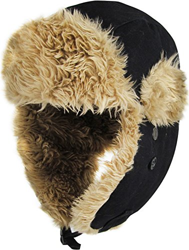 KBW-618 BLK Solid Canvas Trooper Trapper Hat Winter Cap