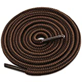 DELELE 2 Pair Round Boot Shoe Laces Shoe Rope Work Hiking Boots Shoelaces Dark Brown Coffee Striped Shoe Lace Boot Shoe Strings-47.24'