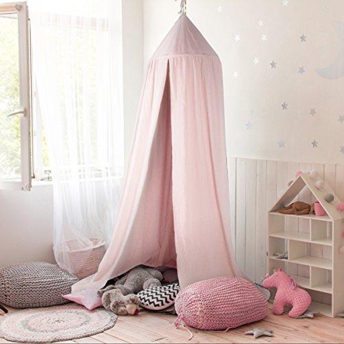 GUSODOR Canopy de Cama Kids Dome Mosquitero de Algodón Tienda de Juego Bueno para Bebé Interior Exterior Jugar Lectura Dormitorio Vestidor Altura 240cm [Rosado]