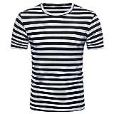 OHQ Blusa Superior de la Camiseta del Verano del Cuello Redondo de la Raya de los Hombres Ocasionales,Camisa de Hombre Camisa de Hip Hop Camiseta Hombre Camiseta de Hombre Camisa Hipster (S, Negro)
