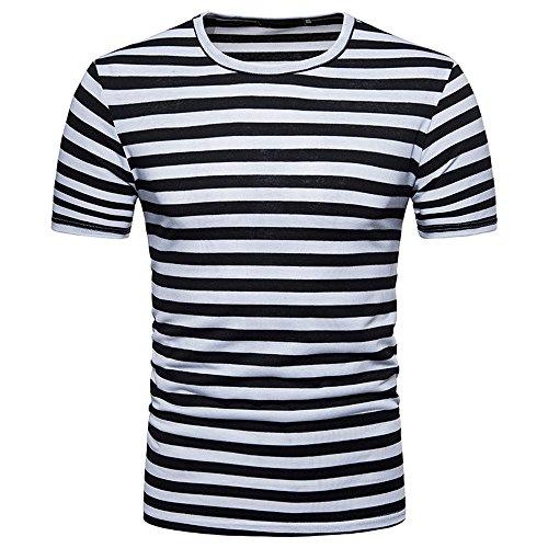 OHQ Blusa Superior de la Camiseta del Verano del Cuello Redondo de la Raya de los Hombres Ocasionales,Camisa de Hombre Camisa de Hip Hop Camiseta Hombre Camiseta de Hombre Camisa Hipster (L, Negro)