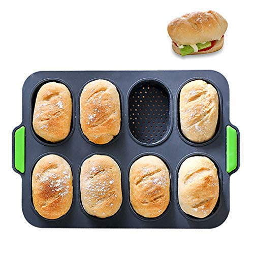 PDJW Silicone Baguette Pan French Baguette Tray for Baking Ciabatta Cakes Hamburgers  Nonstick Bread Mould with Mini Loaf Pans Perfect Baguette Pans for Baking 8 Mini Breads Each Time 1PC Dark Gray