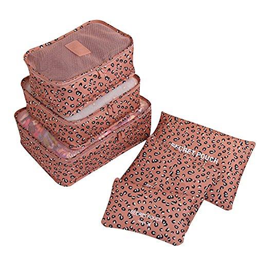 Japace® Set da 6 Pezzi Cubi Di Viaggi Organizzatore per l'organizzazione dei Vestiti all'interno di Trolley e Bagagli---Stile del leopardo