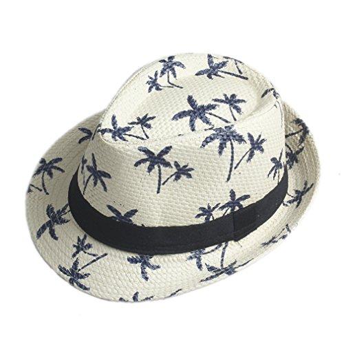 Elee Unisex Children Kids Boys Girls Fedora Trilby Hat Straw Coconut Tree Summer Beach Gangster Cap (Beige)