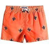 MaaMgic pantalocini da Bagno per bambimi Ragazzi Asciugatura Rapida Costume da Mare Spiaggia Piscina Slip Interno, Arancione con Robot, 3 Anni