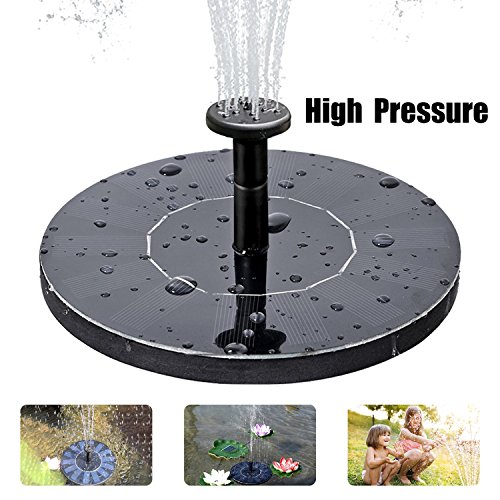 Solar Fountain Pump, Free Standing Solar Birdbath Fountain, 2018 Upgraded 1.5W Solar Powered Fountain Pumps Submersible Outdoor, for Bird Bath, Small Pond, Swimming Pool, Garden, Patio and Lawn