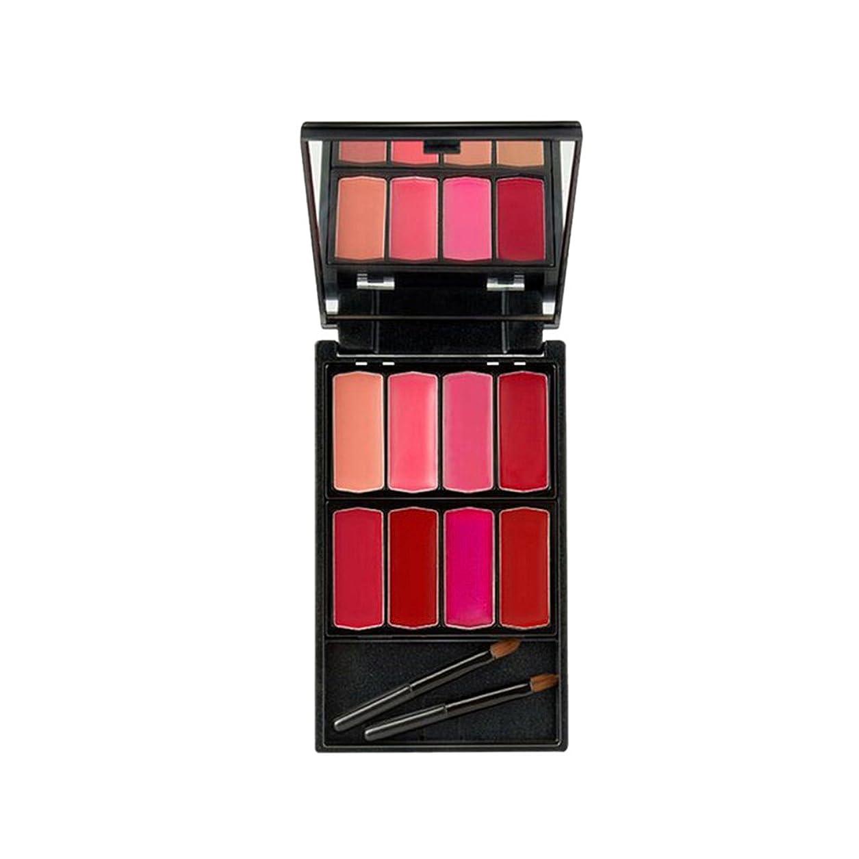 ブラジャーキャンペーンちょうつがいHomyl 8色入 口紅パレット リップグロス メイクアップパレット 唇メイク カラーメイク 化粧鏡 ミラー メイクアップブラシ 便利  - #1