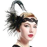 BABEYOND 1920 Flapper Diadema de Pluma de Pavo Real Cinta para el Pelo con Lentejuelas Vintage Gatsby Disfraz Flapper Accesorios Fiesta Temática
