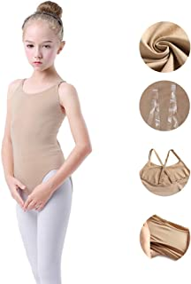 Girls Nude Leotard Seamless Camisole Undergarment for Dance Ballet Gymnastics with Clear Straps for Toddler/Girls
