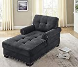 """Cozy Chaises Lounge Indoor Sleeper Chair Velvet Chaise Lounger with Thick Padding for Living Room Bedroom Home,Dark Gray(59"""" 34"""" 33.5"""")"""