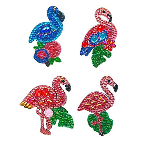 EIYUN Set of 4 Diy 5d Full Drill Diamond Painting by Number Keychains,Flamingo Rhinestone Art Crafts Keyring