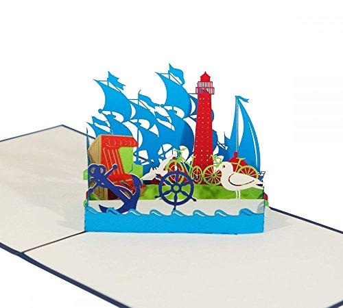 An der Küste - Klappkarte / 3D Pop-Up Karte - Grußkarte mit Möve, Strandkorb, Anker, Leuchtturm und Segelschiffen als Reise-Gutschein, Andenken, Souvenir