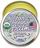 Organic Heel Balm For Dry Cracked Feet - Made in USA, USDA Certified Natural Heel and Foot cream for Healthy Feet - Foot Repair Cream for Men and Women - Perfect for cracked heels and Dry Feet