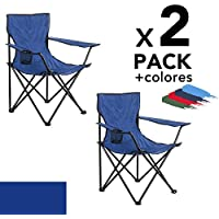 Arcoiris Silla de Camping, Silla de Acampada Plegable (Azul 2pack)