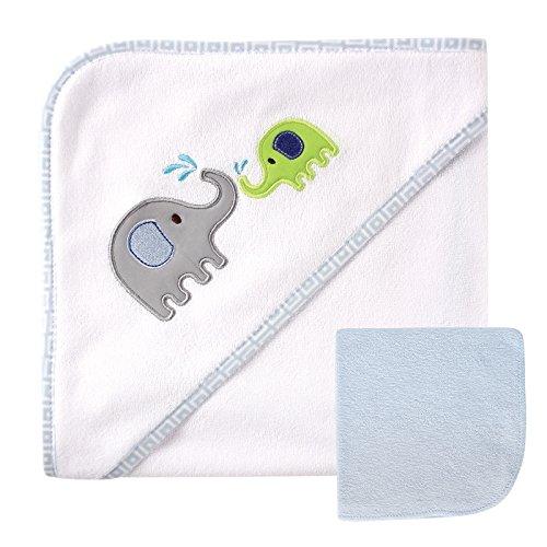 Luvable Friends Unisex Baby Hooded Towel and Washcloth, Blue Elephant, One Size