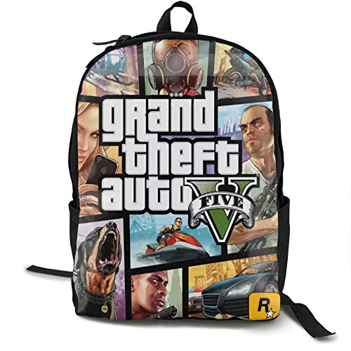 Gta-V-Grand-Theft-Auto Laptop Zaino Zaino Business Viaggio Zaino Impermeabile Laptop Zaino Antifurto Per Uomini Donne
