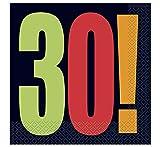 Unique Party- Tovaglioli di Carta 30 Anni, 16 Pezzi, 45803