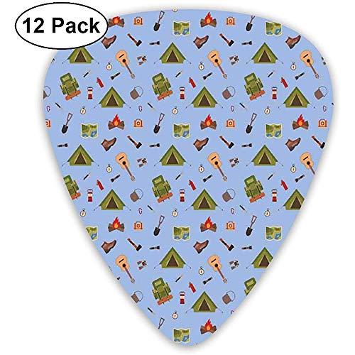 Boy Scout Ilustración de íconos de camping como tienda de campaña de guitarra y botas para niños azul verde (paquete de 12)