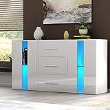 Panana Sideboard Modern Living Room Cupboard Unit Cabinet Furniture 2 Doors 3 Drawers LxDxH 135x32x70cm (White)
