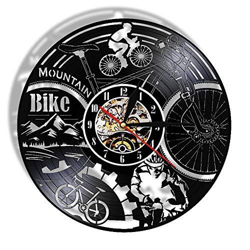 Gtllje Bicicleta Ciclismo Vinilo LP Registro Reloj de Pared Creativo 3D Biker Wall Art Deco Regalos para Amantes del Ciclismo 30x30cm