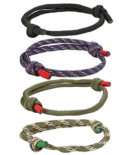 BESTEEL 4-6 Pcs Geflochtene Nautische Armbänder für Männer Damen Handgemachte Navy Seil String Bettelarmband Einstellbar