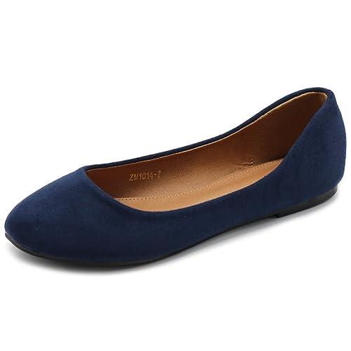bc7af5832cab1 Ollio Womens Shoe Ballet Light Faux Suede Low Heels Flat