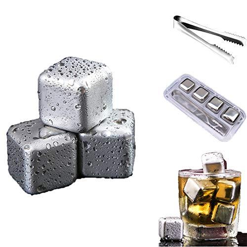 Piedras de cubitos de hielo para whisky, 4 velocidades, cubitos de hielo congelados con pinzas, apto para alimentos, de acero inoxidable, piedras de refrigeración reutilizables para whisky